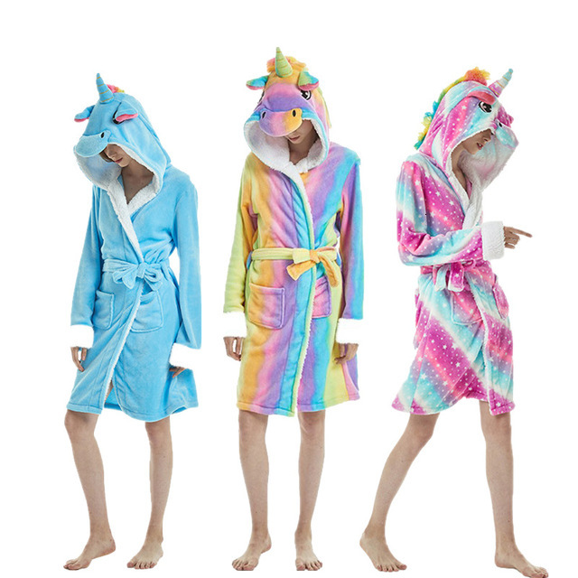 Kigurumi Unicorn Bathrobe For Women Pajamas Adults Winter Animal Flannel Bath Robe Sleepwear Men Thick Warm Panda Homewear Robes