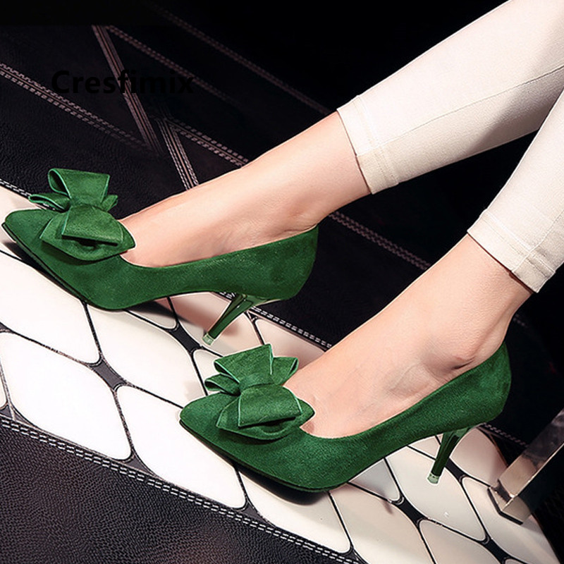Cresfimix Women Fashion High Quality Bow Tie Green High Heel Shoes Lady Casual Red High Heels Cool Black Summer Shoes B5509