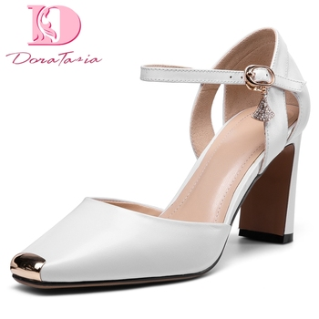 Doratasia 2020 Top Quality Elegant High Heels Genuine Leather Office Ladies Summer Shoes Women Skin Sandals