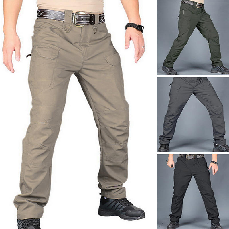 Men's Tactical Pants Casual Spring Lightweight Water-Resistant Hiking Trousers Outdoor Ridge Cargo Sweatpants Long Homme Pants