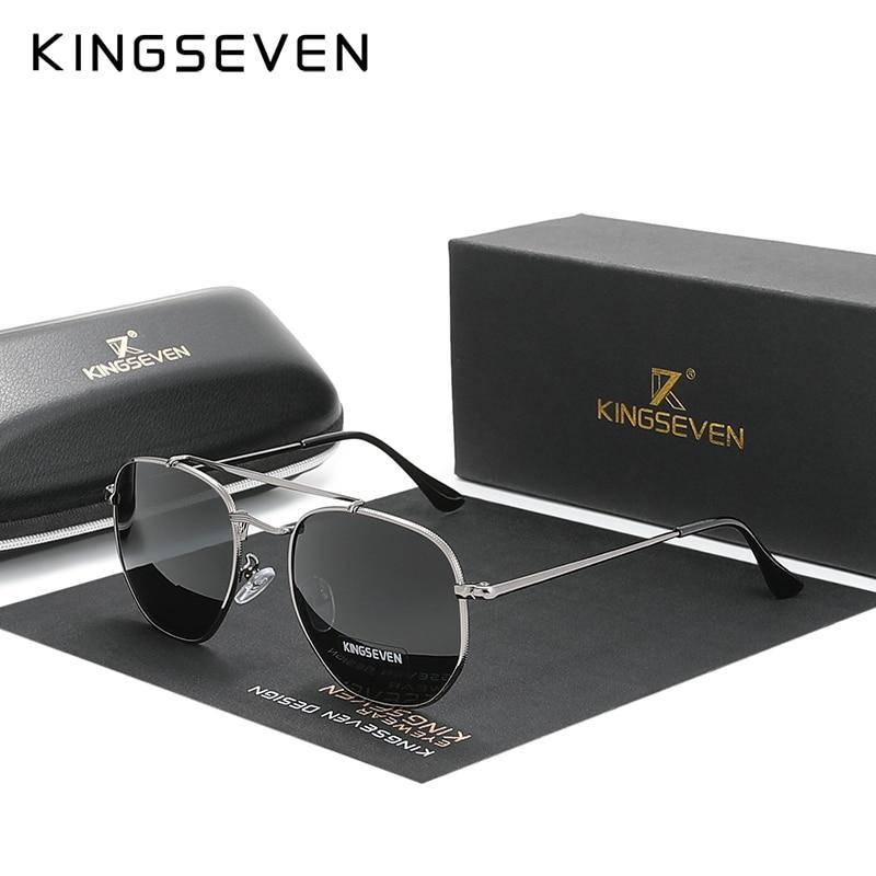KINGSEVEN-gafas De sol polarizadas para hombre y mujer, lentes hexagonales De acero inoxidable N7748