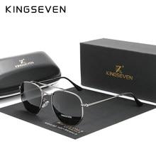 KINGSEVEN – lunettes De Soleil Vintage pour hommes et femmes, verres solaires hexagonaux, polarisées, authentiques, en acier inoxydable, N7748