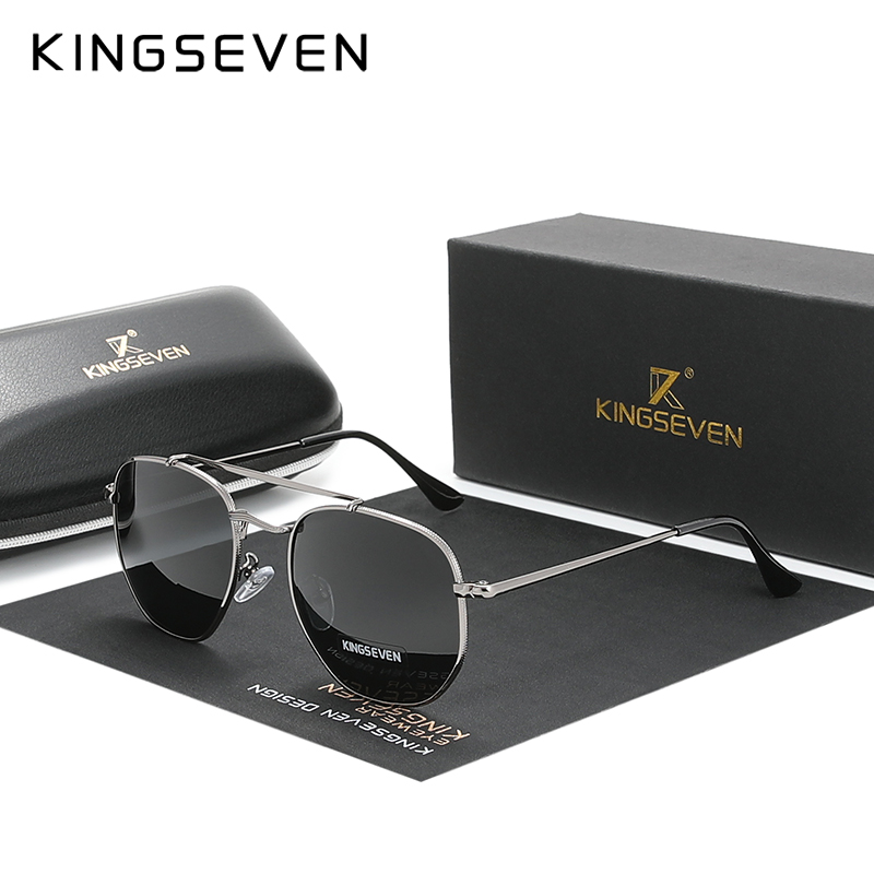KINGSEVEN auténticas gafas De sol clásicas polarizadas para hombre y mujer, gafas De sol hexagonales De acero inoxidable, gafas De sol De Sol para mujer N7748