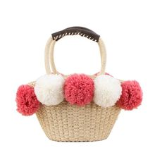 High Quality New Straw Woven Tote Bag for Women with Pom Poms Drawstring Summer Beach Handbag