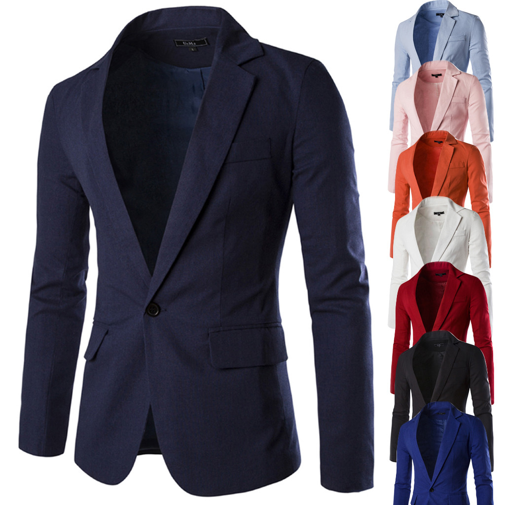 2019 High Capacity Men's Stylish Casual Solid Blazer Business Wedding Party Outwear Coat Suit Tops Support Wholesale Dropship