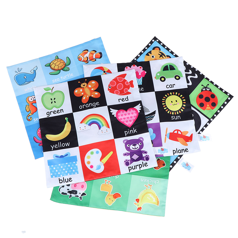 Learning Educational Black/White Cognition Sound Newspaper Baby Toys For Newborn Soft Cloth Book 0-12 Months Kids