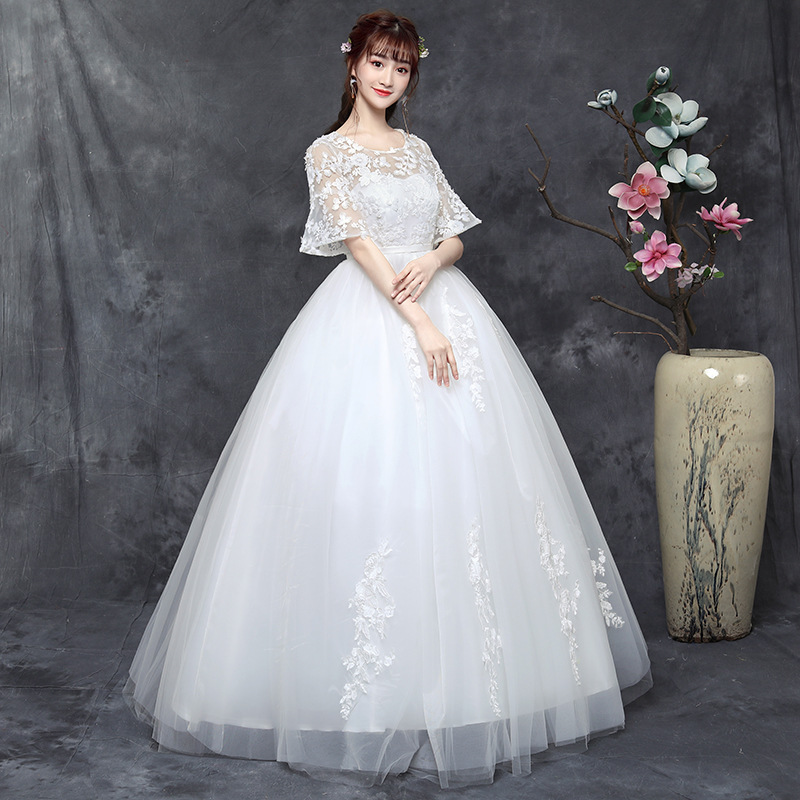 2019 Dress Fat Mm Bride Thin 2020 New Style Fattening, Enlarged, Simple Covering Arms, One Word Shoulder Female Han Bingxia