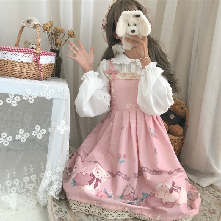 Summer JSK Sweet Lolita Slip Dress Ruffled Lolita Cake Sling Falbala Dress Cute Rebbit Dress And Blouse