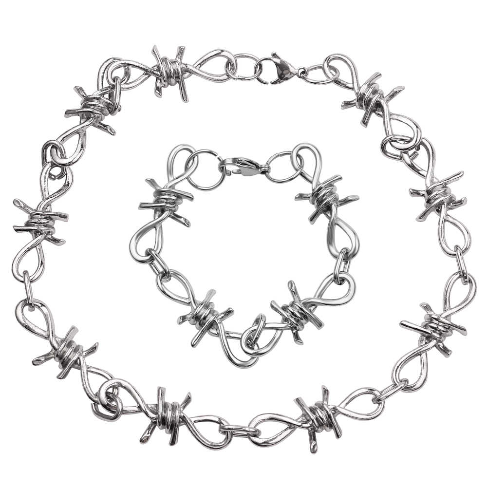 Punk Gothic Alloy Barbed Wire Brambles Necklace Jewelry Women Men Unisex Women Men's Jewelry Accessoies