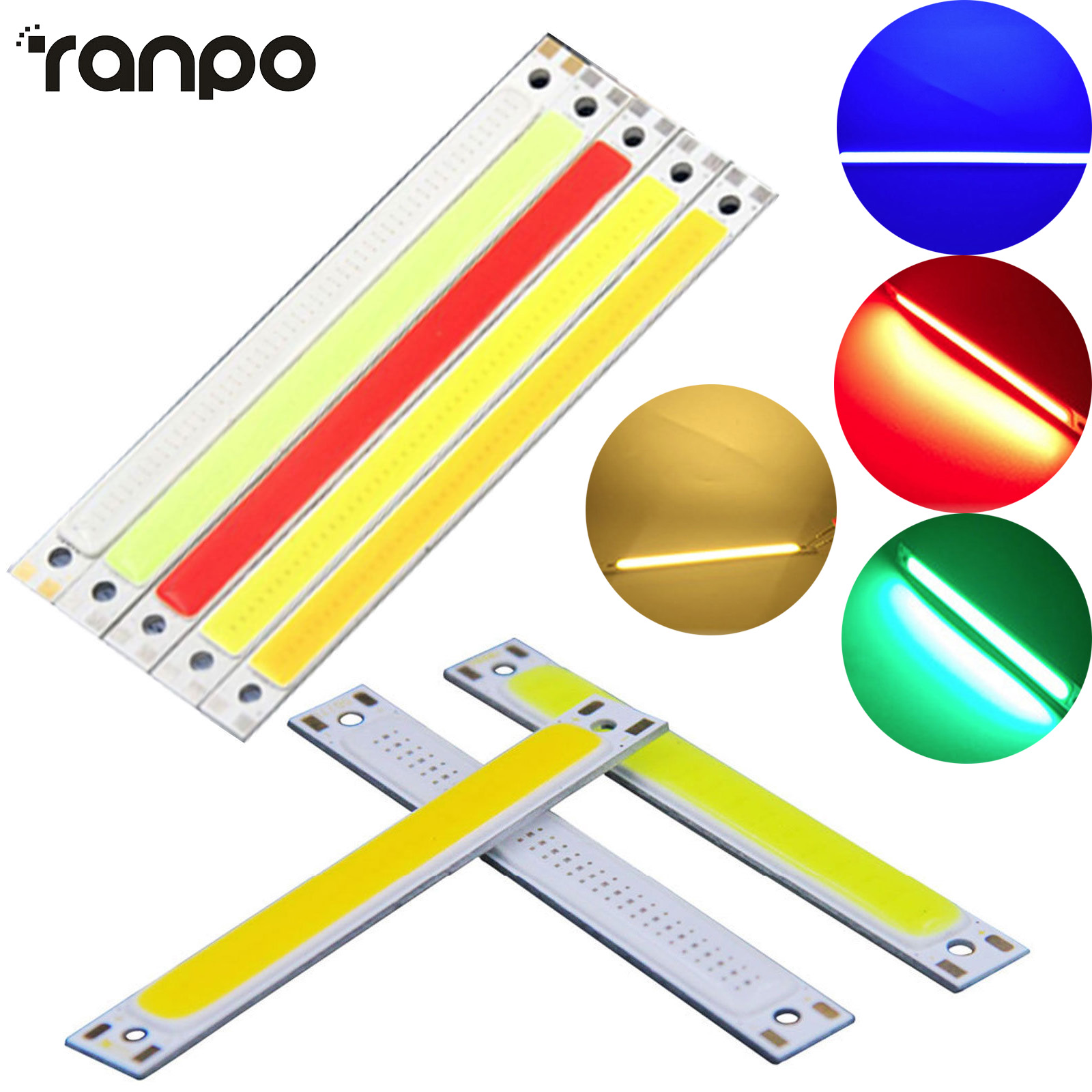 LED COB Light Strip Panel Lamp DC 12V 10W CarVehicle Floodlight Source Bulbs 5 Colors For DIY Lighting 120mm X 9mm