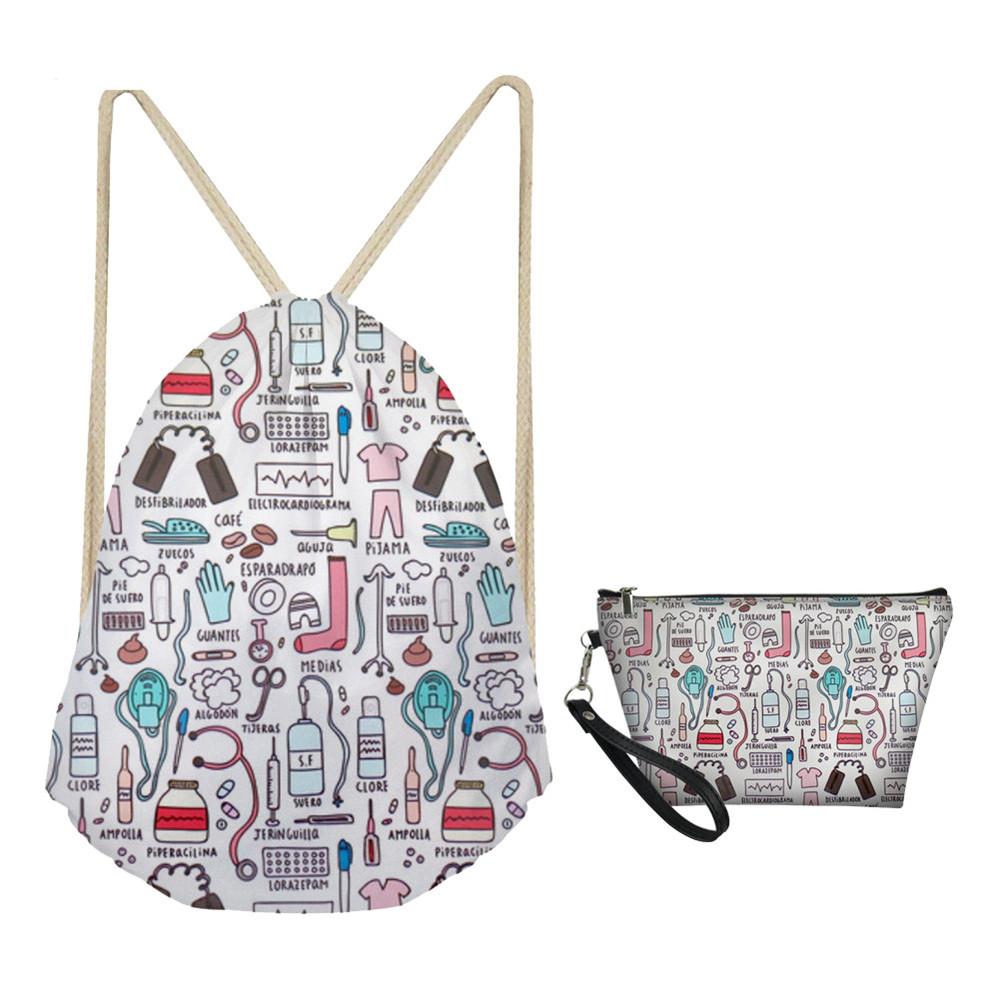 MOZOEYU Women Drawstring Bag Sets Fashion Nurse Design Girls Woman Foldable School Girls Cloth Backpack Small Shoes Pack