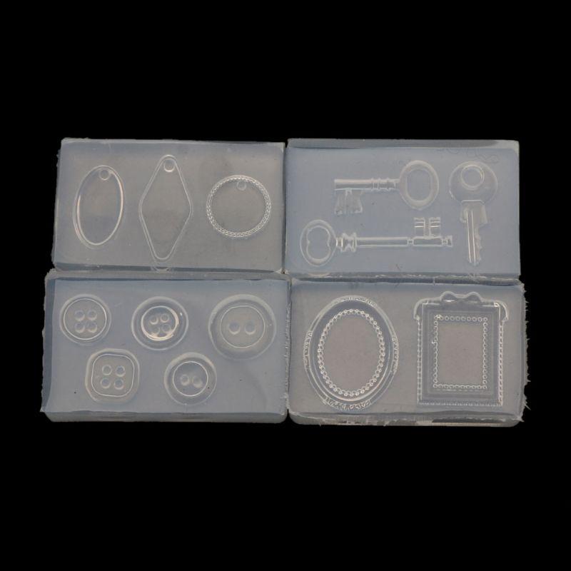 4Pcs Handmade Key Pendant Gemstone Button Frame Geometric Shape UV Epoxy Resin Silicone Mold Kit Jewelry Making Tools