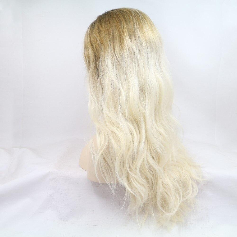 Sylvia ombre loira peruca dianteira do laço sintético onda solta cabelo longo natural olhando diário peruca senhora glueless arraste raízes escuras - 4