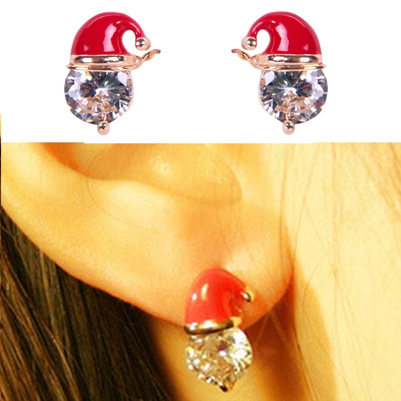 Christmas Fashion <font><b>Jewellery</b></font> Christmas <font><b>Red</b></font> <font><b>Hat</b></font> Earrings image