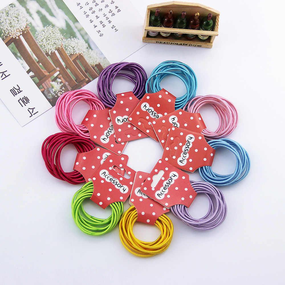 18 cores 10 pçs/parque 3cm crianças bandas de borracha acessórios para o cabelo atacado nova moda doces cores elásticos para o cabelo das meninas crianças