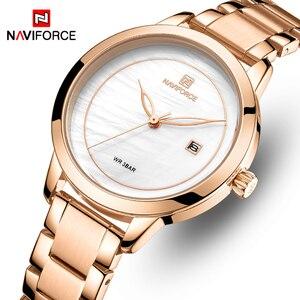 Image 1 - Naviforce relógio feminino, relógio de marca de luxo simples de quartzo, relógio de pulso à prova d água, moda feminina, relógios casuais, menina, relógio