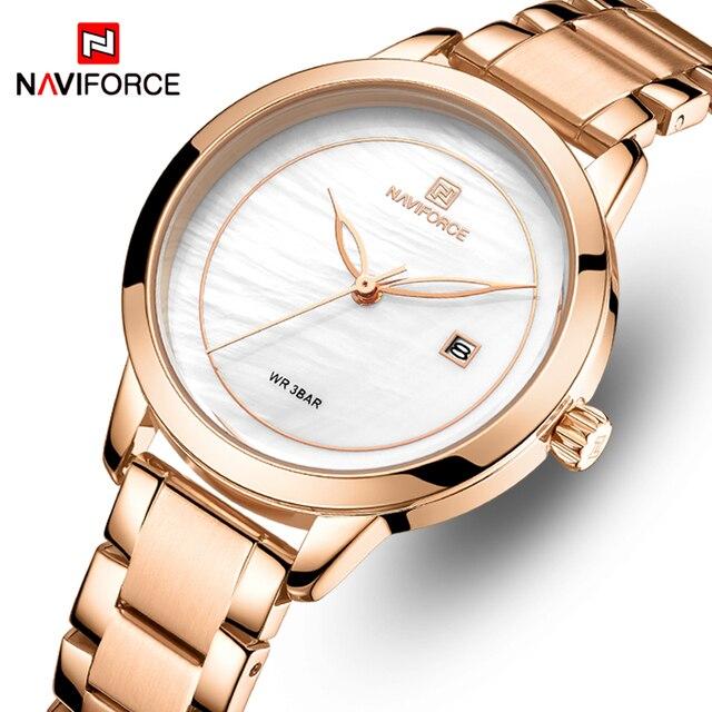 Naviforce relógio feminino, relógio de marca de luxo simples de quartzo, relógio de pulso à prova d água, moda feminina, relógios casuais, menina, relógio