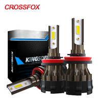 CROSSFOX luces del coche lampada H4 alta y baja lámparas LED H7 6000K H8 H9 H11 9006 HB4 HB3 9005 bombilla LED H1 12V faro luz 8000LM