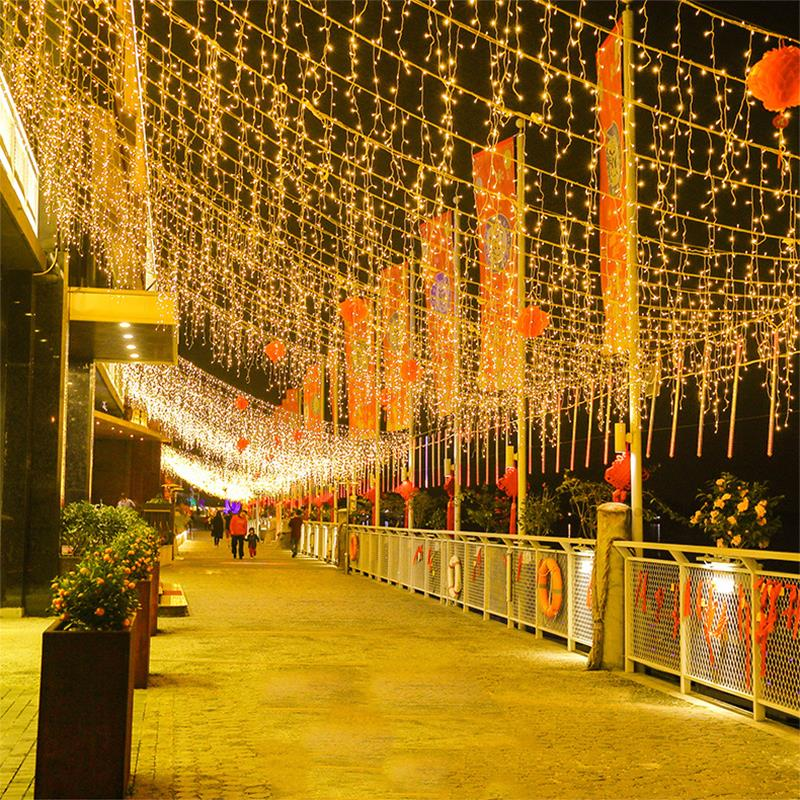 LED Curtain String Light Solar Power Copper Wire Landscape Lamp Outdoor Festival Yard Curtain Light String Fairy Light