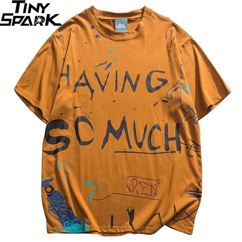 Hip Hop T Shirt Men 2020 Streetwear Graffiti Tshirt Harajuku Summer Short Sleeve T-Shirt Cotton Fashion Tops Tees HipHop Hipster