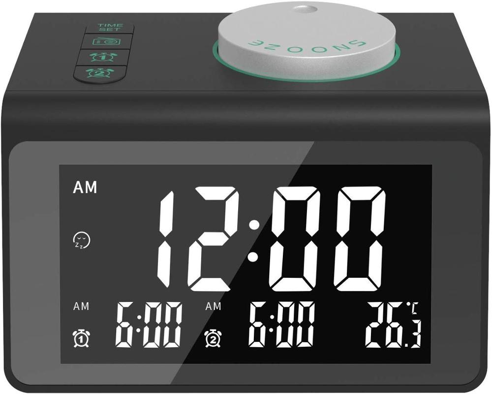 FM Radio LED Mirror with Alarm Clock Subwoofer Music Player Snooze Desktop with 2usb charger Radio     - title=
