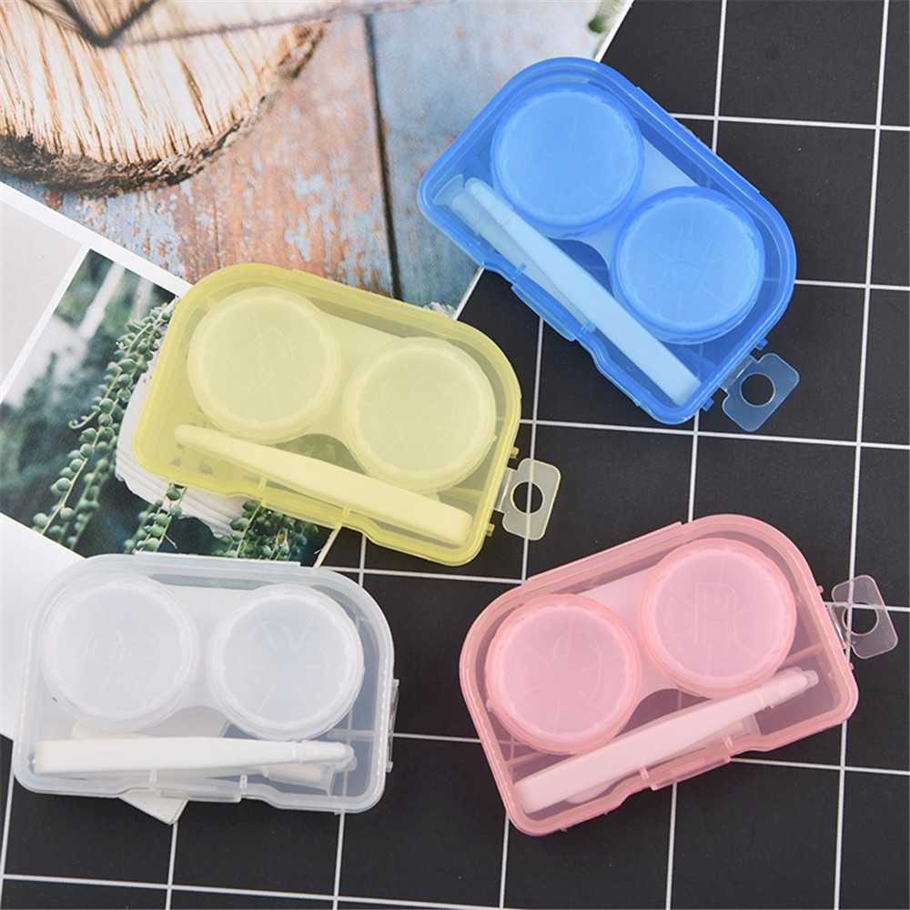 1PCS Transparent Mini Pocket Contact Lens Case Box Travel Kit Easy Carry Mirror Containe