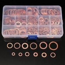 280 pçs de vedação cobre sólido junta arruela cárter plug óleo para o barco esmagamento plana selo anel ferramenta acessórios ferramentas pacote kit