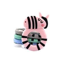 Silicone Teether BPA Free Zebra Shape Teething Toys Cartoon Animal Tiny Rod Food Grade For Teeth DIY Pacifier Clip Chain