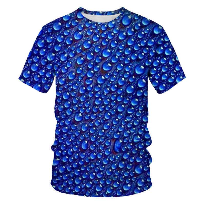 Biru 3D Tetesan Air Cetak Tshirt Pria 2019 Baru Slim Fit Lengan Pendek T Shirt Pria Wanita Harajuku Kasual tee Shirt Homme