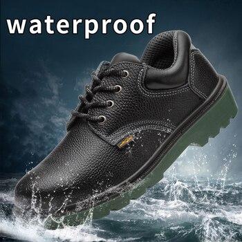 water proof boots work  industrial heavy duty camo safety shoes sneakers men werkschoenen met stalen neus tegen water kunnen industrial water pollution