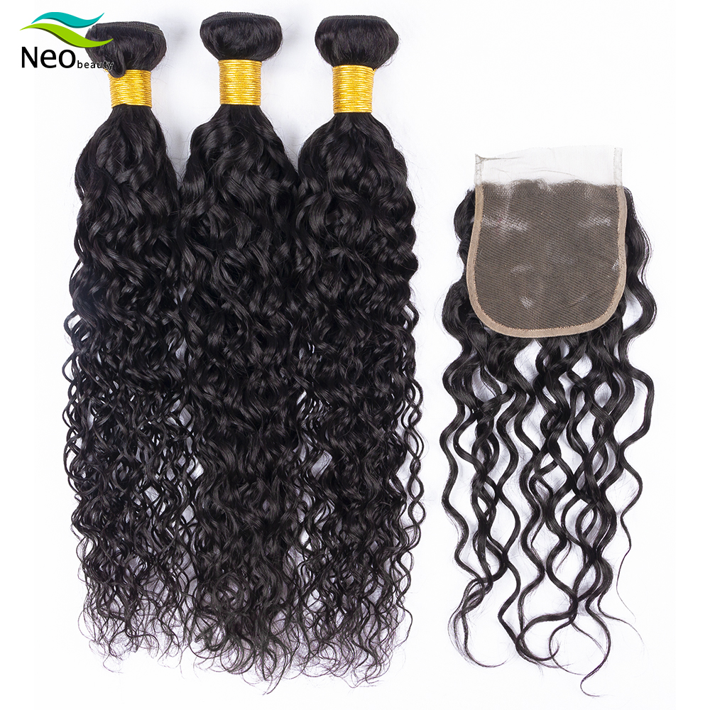 Water Wave Bundles Human Hair Bundles With Closure Natural Color Non-Remy Hair Extensions Cambodian Hair Weave Bundles Whoelsale