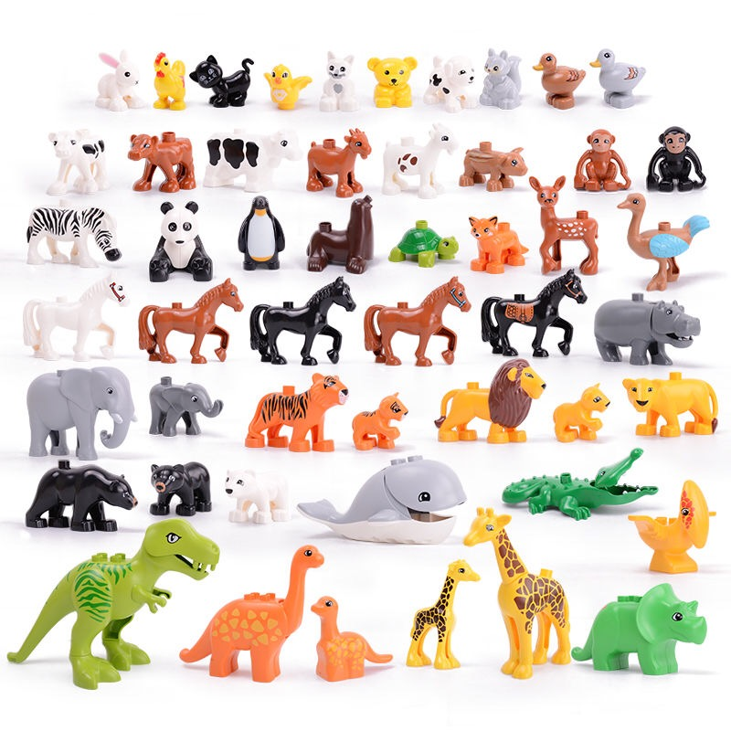 Duplo Children Building Blocks Toys Pasture Farm Animals Rabbit Dog Pig Cat Panda Tiger Hippo Giraffe Elephant Figures Baseplate image