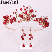 JaneVini Luxury Beaded Wedding Crowns and Earrings Set Bridal Jewelry Wedding Tiaras Diadem Red Princess Crowns Hair Accessories(China)