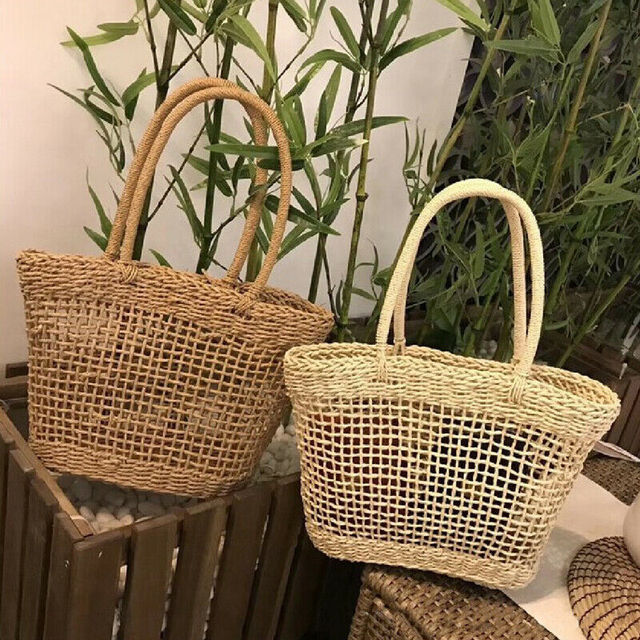 Women Straw Shopping Basket Beach Tote Summer Shoulder Bag Handbag 3