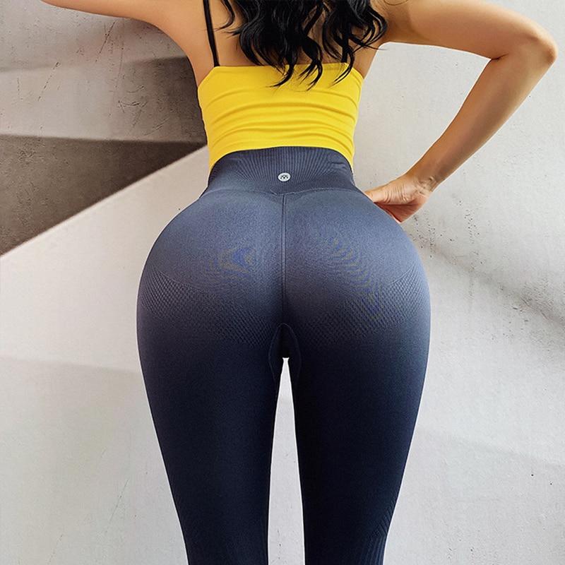 NORMOV Seamless Women   Leggings   Solid High Wasit Push Up Ankle Length Bodycon Workout   Leggings   Casual Fitness   Leggings   Feminina