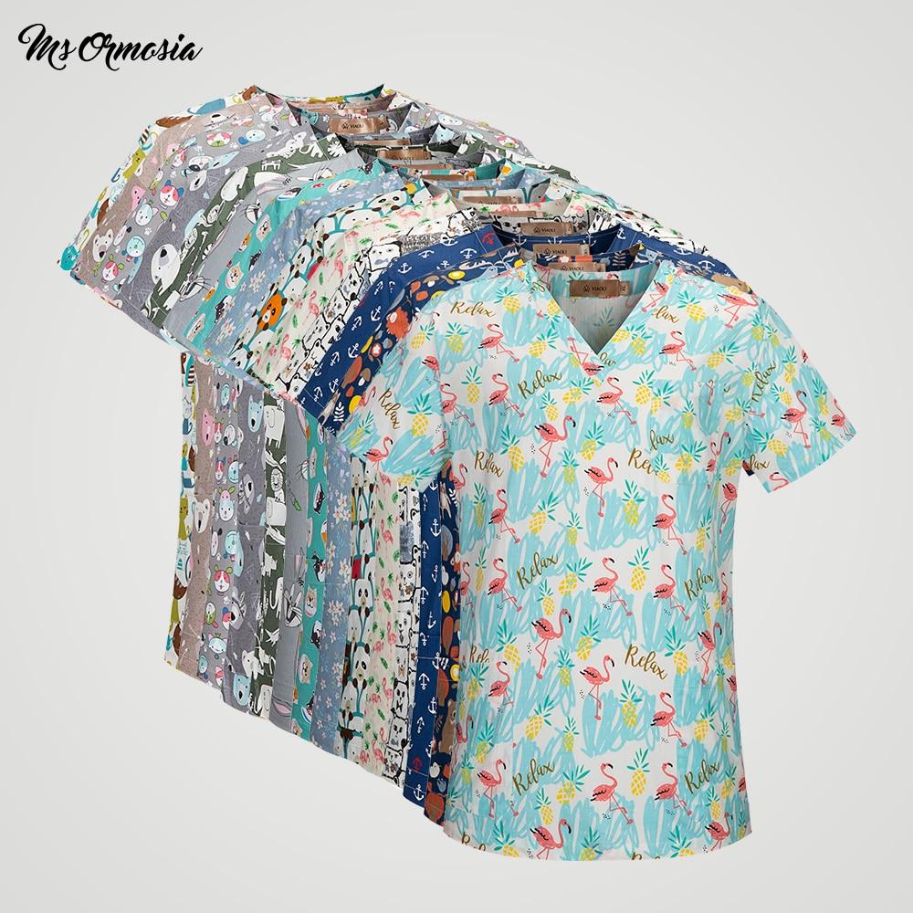 High Quality Hospital Nursing Uniform Scrubs Breathable Medical Surgical Costume Dentistry Pharmacy Clothes Womens Scrub Tops