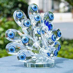 Image 3 - H & D קריסטל עם כחול עין רעה זכוכית אמנות קרפט קריסטל מיניאטורות צלמית בית חתונת דקור קישוט חג המולד מתנה עבור גברת