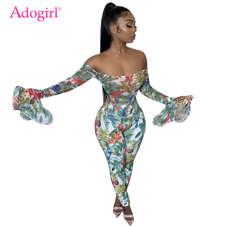 Adogirl Floral Print Off Shoulder Long Flare Sleeve Jumpsuit Women Sexy Slash Neck Skinny Romper Female Fashion Casual Overalls