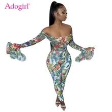 Adogirl Floral Print Off Shoulder Long Flare Sleeve Jumpsuit Women Sexy Slash Neck Skinny Romper Female Fashion Casual Overalls