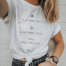 help more bees plant tops girls streetwear plus size tshirt korean clothes women 2019 print o-neck casual pink 90s