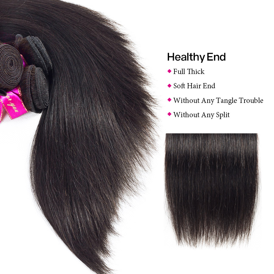 Hb53fe7c9f9754ba695e61cea92a1bedaw Cynosure Brazilian Straight Hair Weave 3 Bundles with Closure Natural Black Remy Human Hair Bundles with Closure