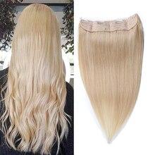 Halo Hair Extensions Human Hair Straight Fish Line Remy Human Hair Extensions Blonde Color #613