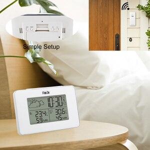 Image 4 - Цифровые часы с будильником FanJu FJ3364W, беспроводной термометр, гигрометр, датчик, светодиодные настольные часы с повтором сигнала, инструменты для метеостанции DCF