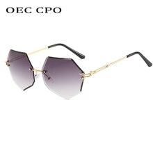 OEC CPO Rimless Sunglasses Women Fashion Irregular Lens Vint