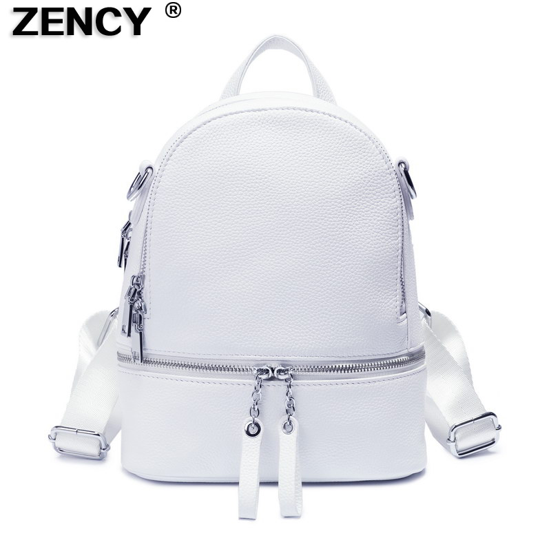 ZENCY Casual Silver Hardware 100% Genuine Cow Leather Women Design Backpack Lady Girl Top Layer Cowhide Book Bag Style Knapsack