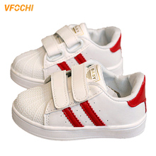 VFOCHI New Boys Shoes for Kids Fashion Striped Soft Girl Casual Shoes Cute Children Non-slip Flat Shoes Unisex Boys Girls Shoes cheap Rubber Bonded Leather Fits smaller than usual Please check this store s sizing info Lace-Up Four Seasons Anti-Slippery