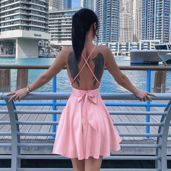 Women Solid Color Satin Sexy V-neck Spaghetti Strap Mini Dresses Lady Behind Bow Female Short Dress Slim Fit A-line Beach Dress women s chic sleeveless solid color v neck a line dress