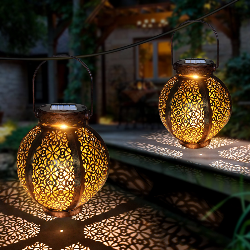 Hanging Solar Lanterns Retro Hollow Solar Lights with Handle Outdoor Solar Garden Lights Decor for Yard Tree Fence Patio Bronze|Solar Lamps|   - AliExpress