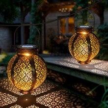 Hanging Solar Lanterns Retro Hollow Solar Lights with Handle Outdoor Solar Garden Lights Decor for Yard Tree Fence Patio Bronze