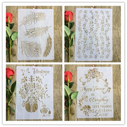 4pcs/set Feather Flower Guitar A4 DIY Stencil Wall Painting Scrapbook Coloring Photo Album Decorative Paper Card Template